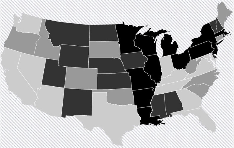 Possibilities for the Lower 48: A 1-percent increase in seniors who receive meals would cost money in states with lighter gray shadings, including a lot in Florida but less in Oregon. The 26 darker shaded states, especially those in black, could reduce Medicaid costs enough to save money.