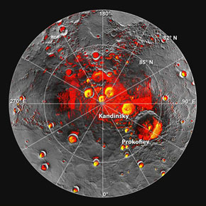 Mercury's north pole: Red areas (from MESSENGER) and yellow areas (from Earth-based radar) are in persistent shadow. Credit: NASA/JPL