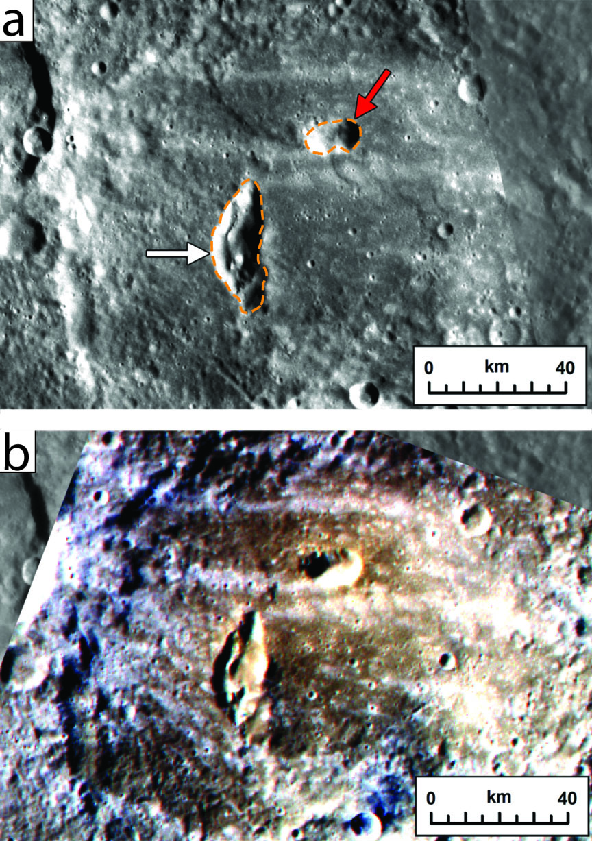 Measuring geological time: Two pyroclastic vents on the floor of Mercury's Kipling crater, top, would likely not have survived the impact; they are more recent. The false color image of the same spot, bottom, marks pyroclastic material as brownish red.