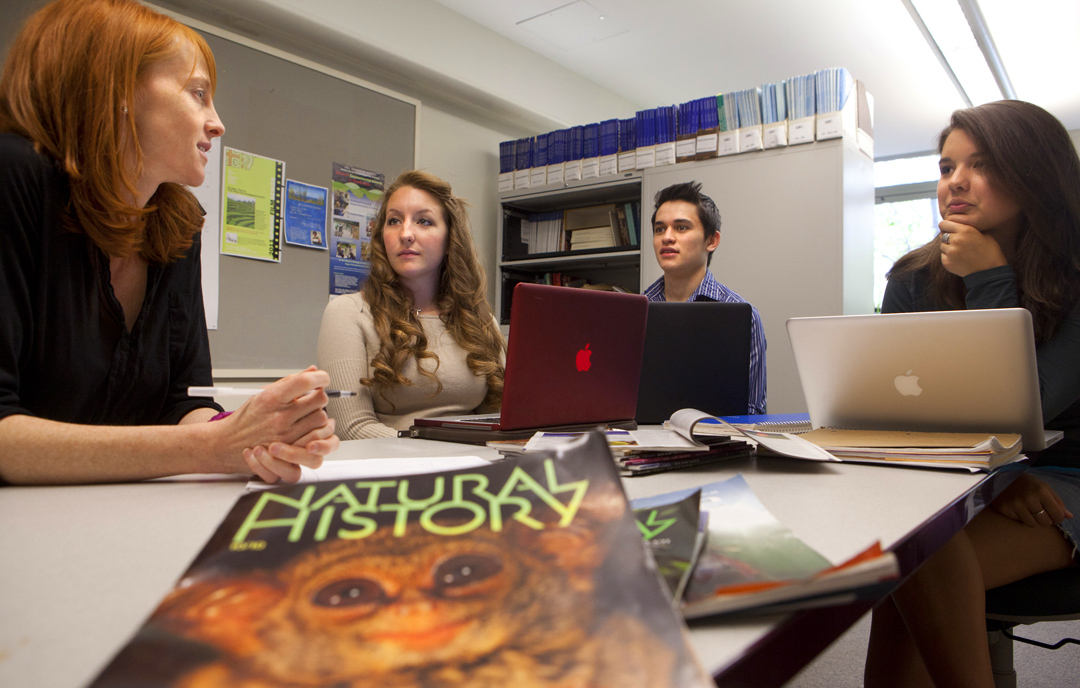 Definitely a need to know: People who own exotic pets need more information than is commonly available. A group at Brown is working on that: from left, Kate Smith, Melanie Berger, Justin Dittmaier, and Jane Chen. Credit: Mike Cohea/Brown University