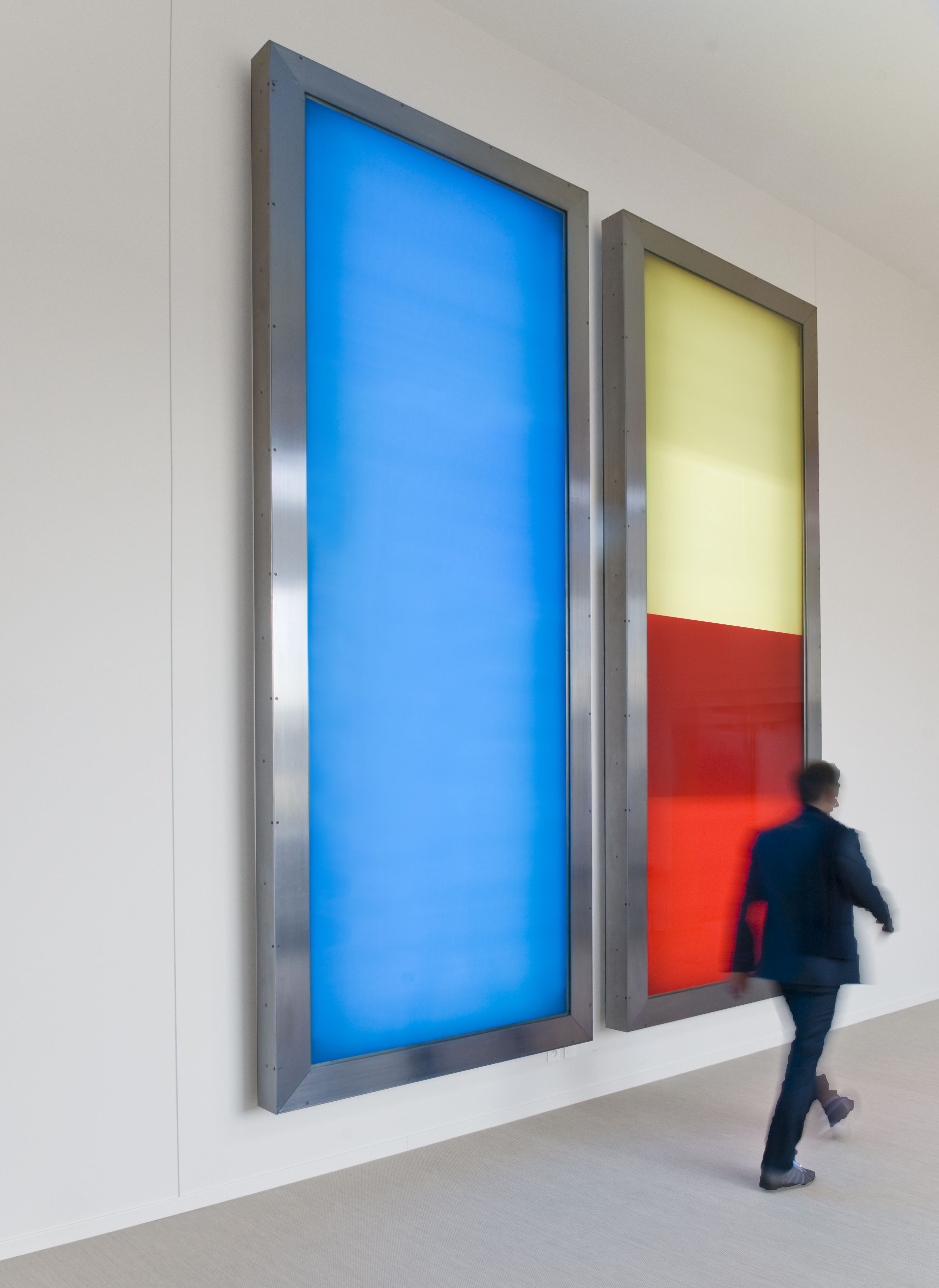 realities:united, 2x5: Two 14 x 5 foot light boxes will wash the entrance of the Granoff Center in a range of colors, from white, to rose, blue, mustard, and red.