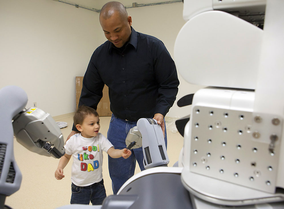 A future with robots in it: Jenkins' son Wesley, 4, may live in a world where robots are useful and commonplace. Credit: Mike Cohea/Brown University
