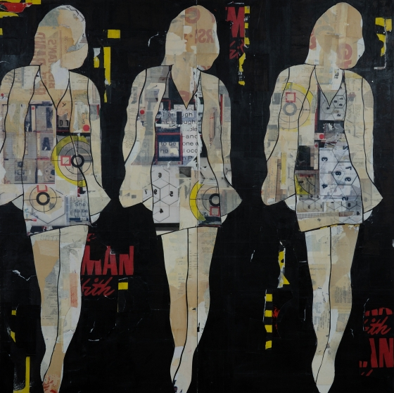No more, no less: Jane Maxwell, 3 Walking Girls Black  (2012)Mixed media with resin on panel, 48 x 48 inches