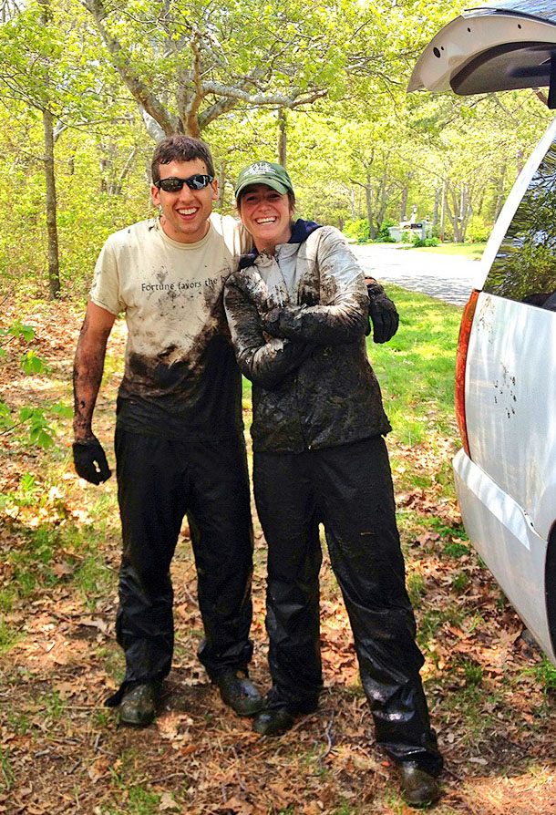 Dirty work: Matt Bevil and Sinead Crotty, like the rest of the research team, faced a marathon of mud during the summer. Their work yielded two published papers and answered many questions about salt marsh destruction in the Northeast.