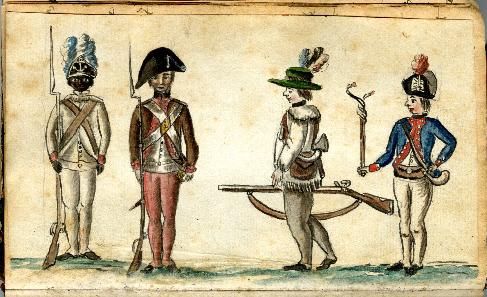 Soldiers in Uniform (1781-1784): This watercolor from the American War of Independence by Jean Baptiste Antoine de Verger (1762-1851) is one of the only known images of an African American soldier dating from that time.