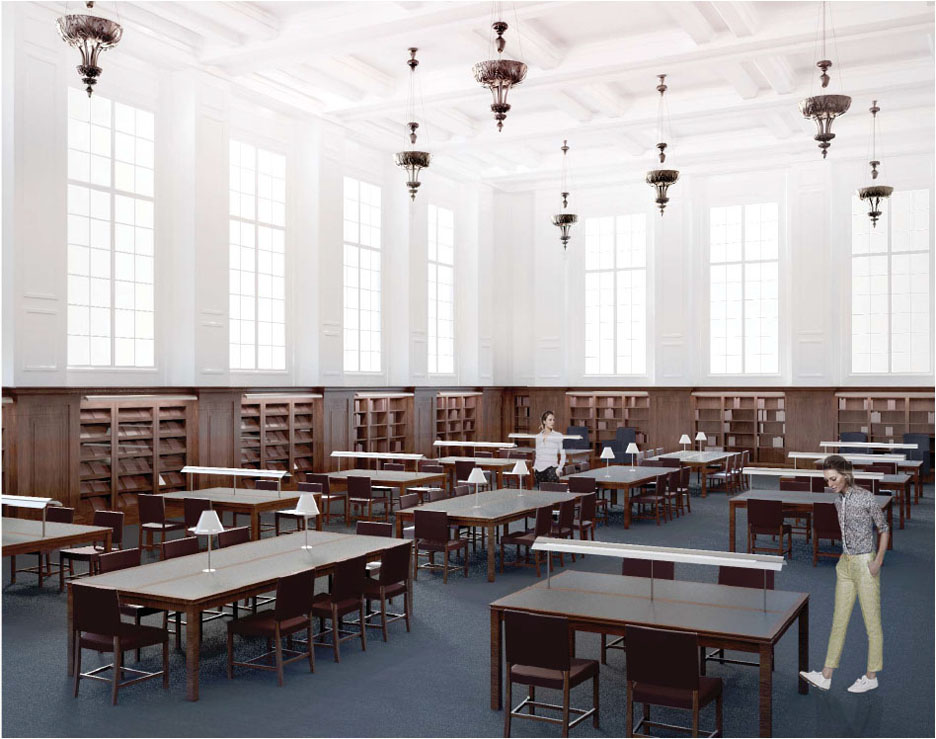 Restoration: Major renovations in the John Hay Library begin in August, focusing on the first-floor reading room and archives/special collections reading room. Credit: Selldorf Architects