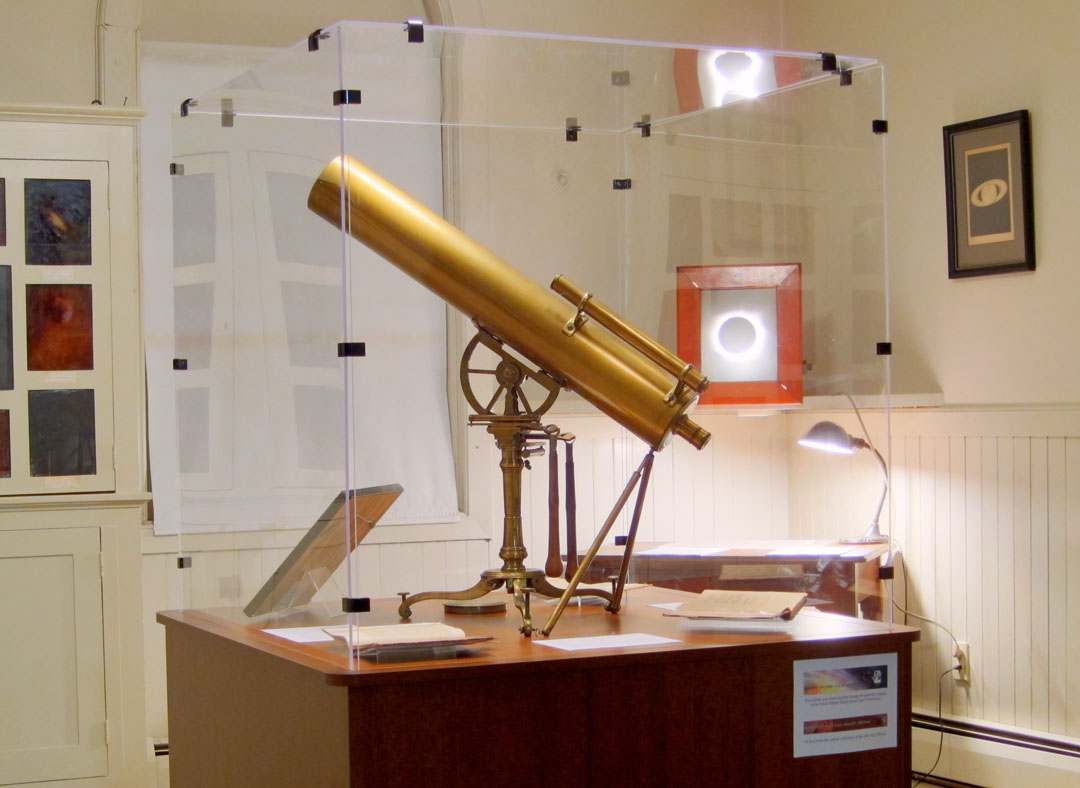 Essential equipment, ca. 1765: This 24-inch reflecting telescope was made in London by Watkins & Smith ca. 1765 and purchased by Joseph Brown to observe the 1769 transit of Venus in Providence. Benjamin West used it to make his observations of the transit; Brown later donated it to the University. Credit: Scott MacNeill/Ladd Observatory