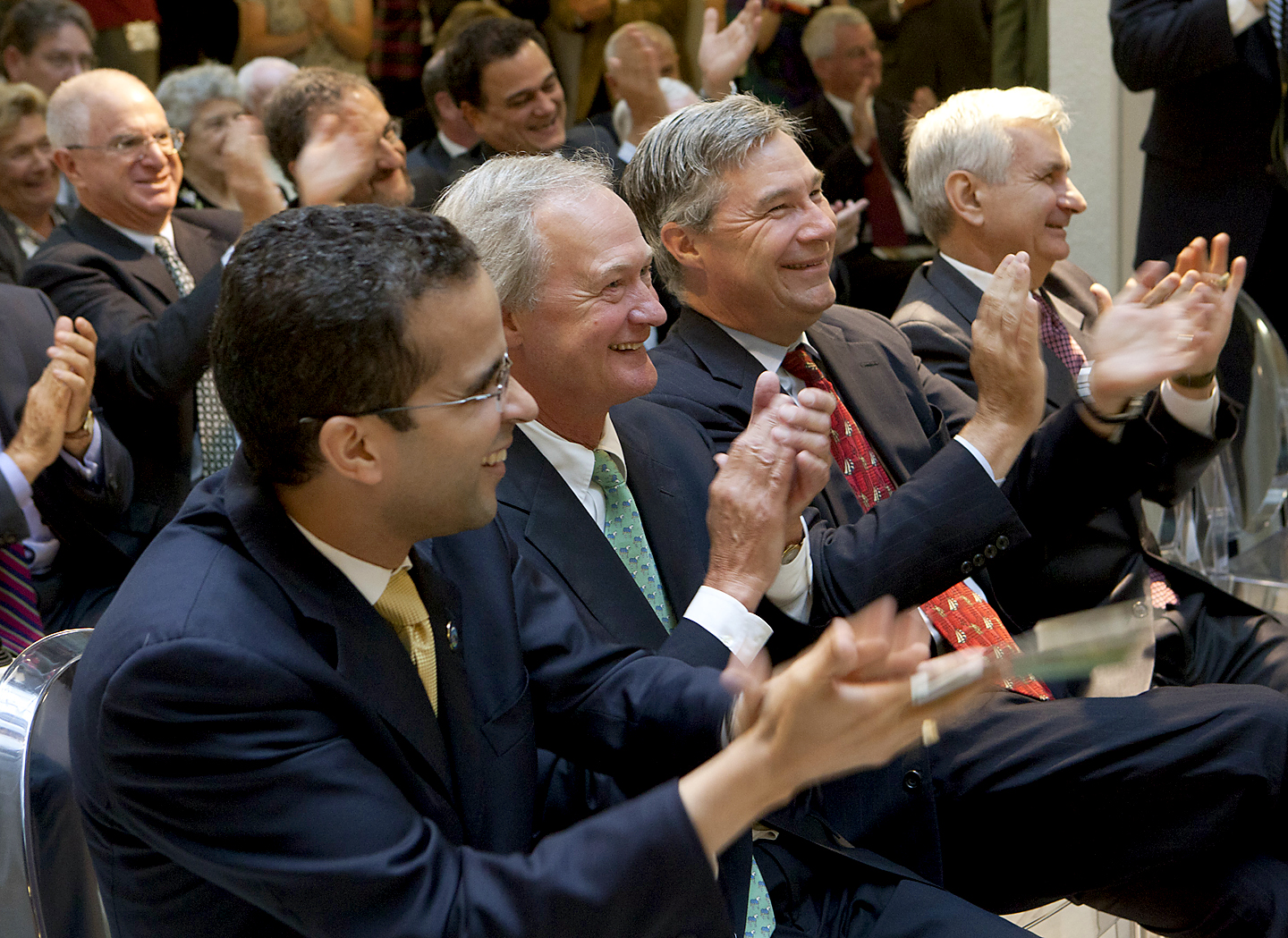 A big day for Brown, Providence, Rhode Island: Mayor Angel Taveras, Gov. Lincoln Chafee, and Sens. Sheldon Whitehouse and Jack Reed cheer President Ruth Simmons at the grand opening. Credit: Mike Cohea/Brown University