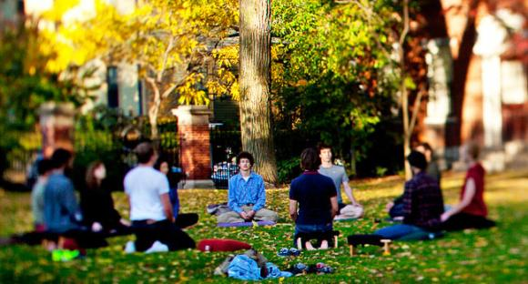 An outdoor class at the contemplative studies centre at Brown