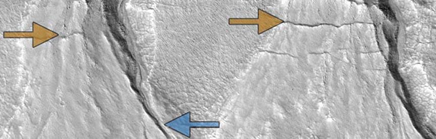 Sharp-featured, relatively recent gullies (blue arrows) and degraded older gullies (gold) in the same location on the surface of Mars suggest multiple episodes of liquid water flow, consistent with cyclical climate change on the Red Planet.