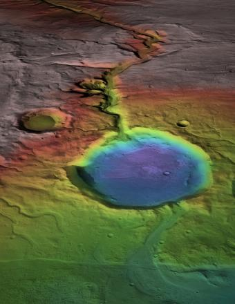 Although the surface is now cold and desiccated, in early Mars history water formed an open-basin lake, filling the crater, forming a delta, and breaching the lower rim as water flowed to lower elevations (blue).